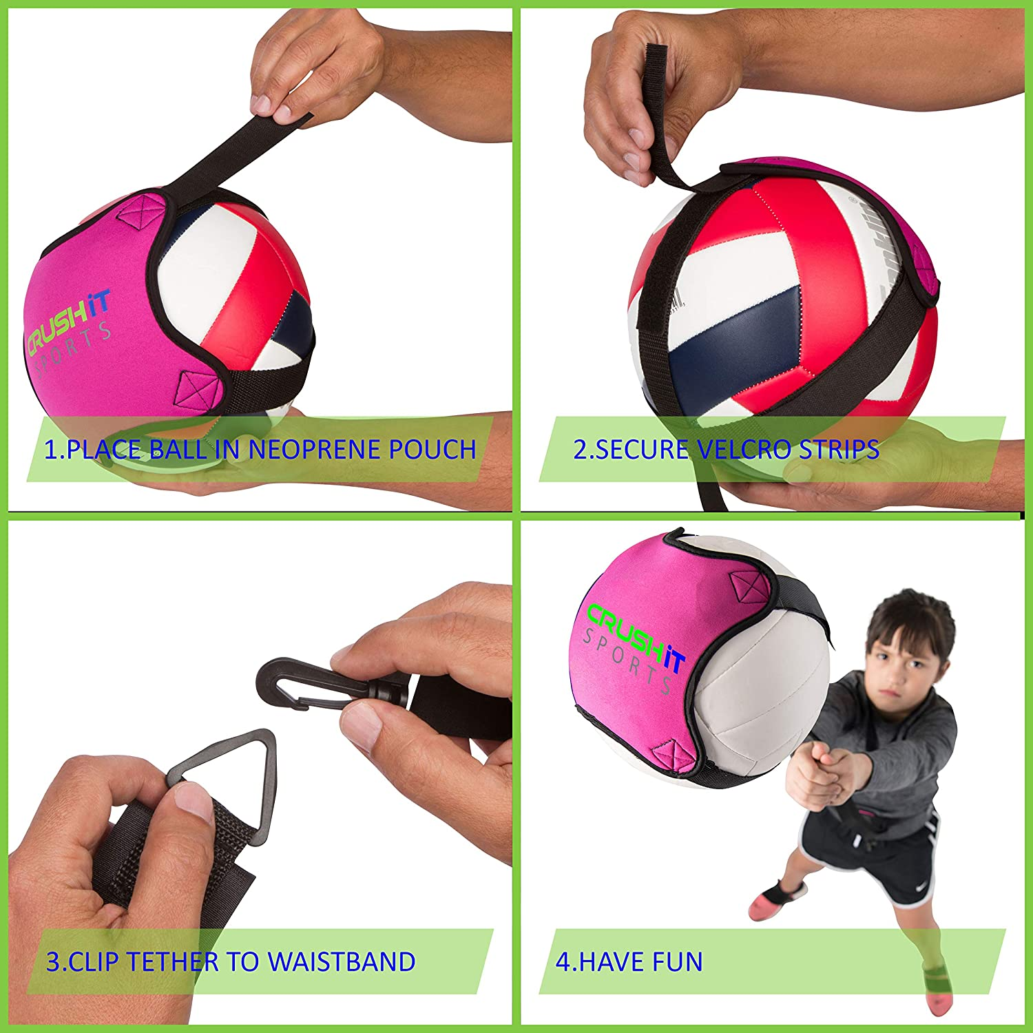 Practice Your Serving Spiking Crush it Sports Volleyball Training Equipment Aid Perfect for Beginners Serve and Spike Like a Pro with this Solo Trainer Setting and Arm Swing