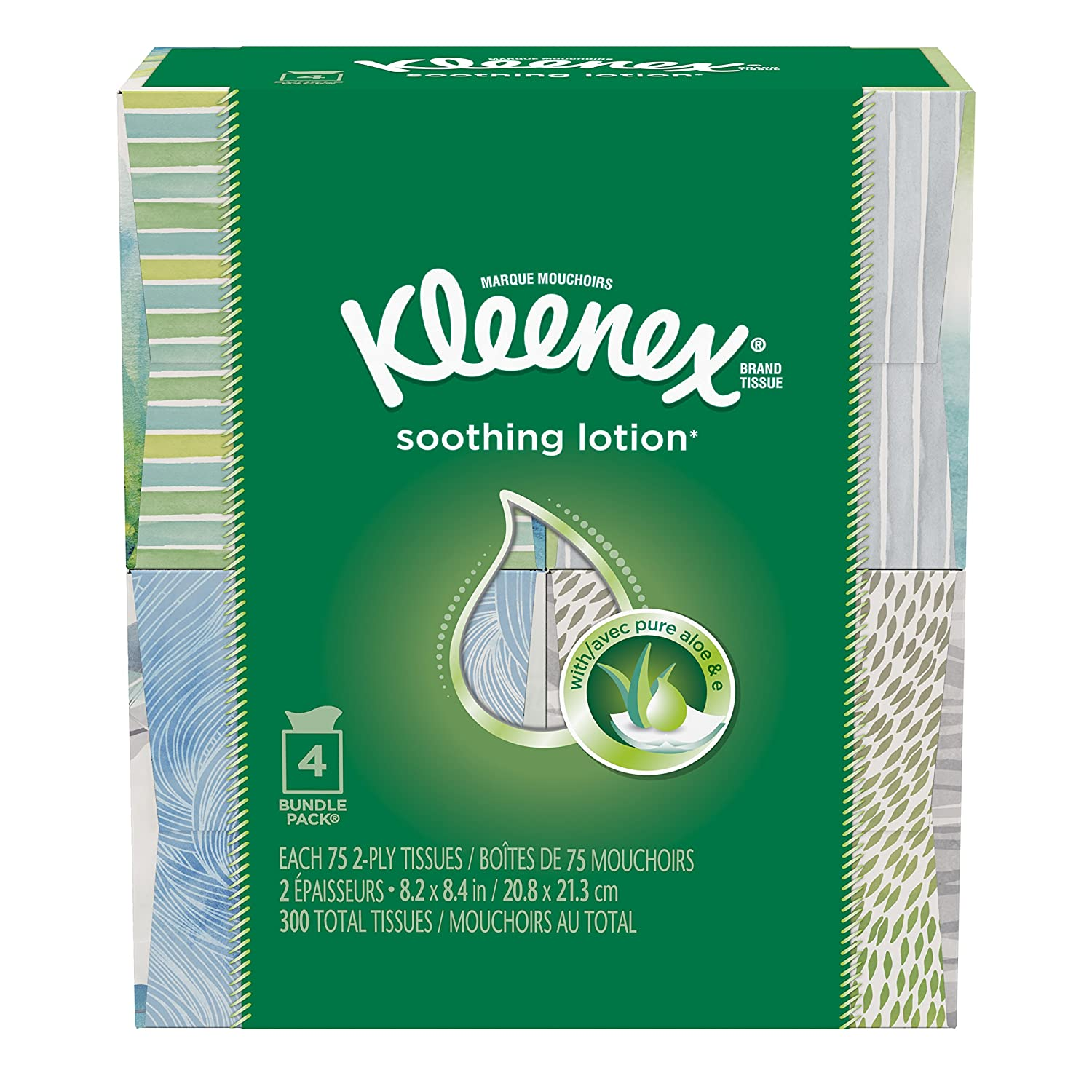 Kleenex Lotion Facial Tissue (4 Boxes/75 Sheets Per Box) ( Designs & colors will vary ) by Kleenex B008EIY9A2