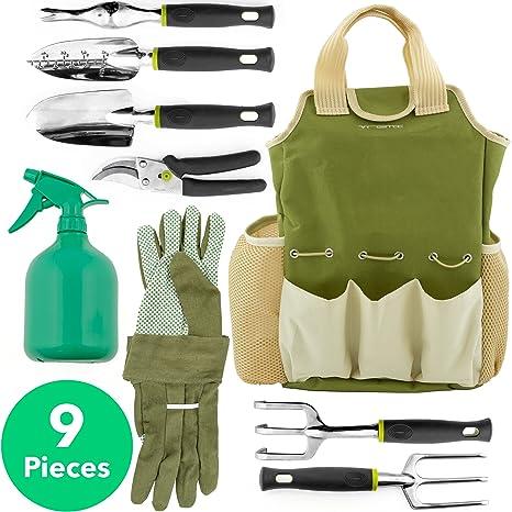 Attractive Vremi 9 Piece Garden Tools Set   Gardening Tools With Garden Gloves And  Garden Tote