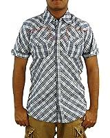 SCOTCH & SODA Men's Short Sleeve Check Shirt, Large, Grey/Off White TRIM FIT.