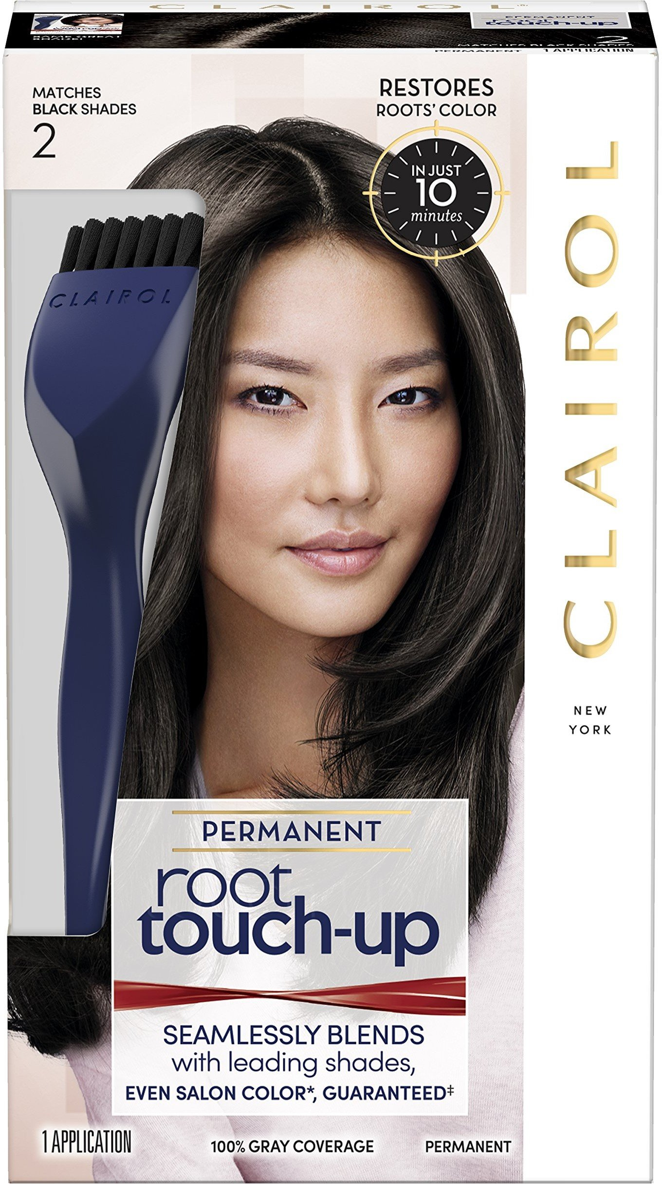 Clairol Permanent Root Touch-Up, Black [2], 1 ea (Pack of 3) by Clairol