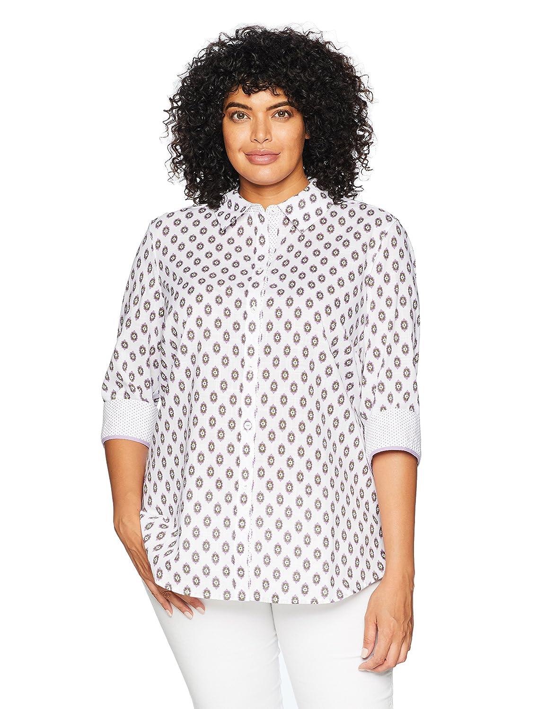 Foxcroft Womens Plus-Size Ava Ikat Dot