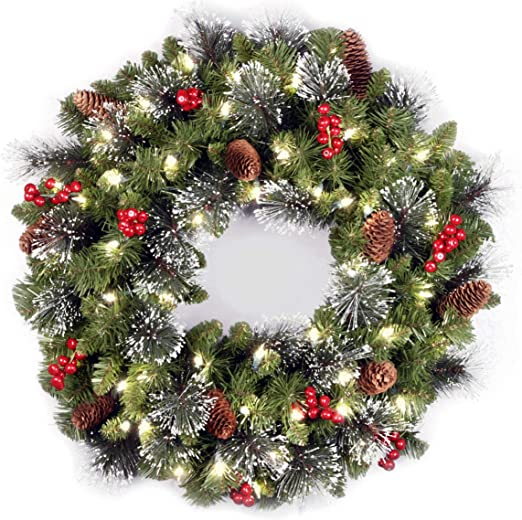 National Tree Company Lit Artificial Christmas Wreath Flocked With Mixed Decorations And Pre Strung White Led Lights Crestwood Spruce 24 Inch Home Kitchen