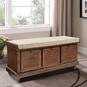 OS Home and Office Furniture Model Bench in Distressed Brown storage ottoman