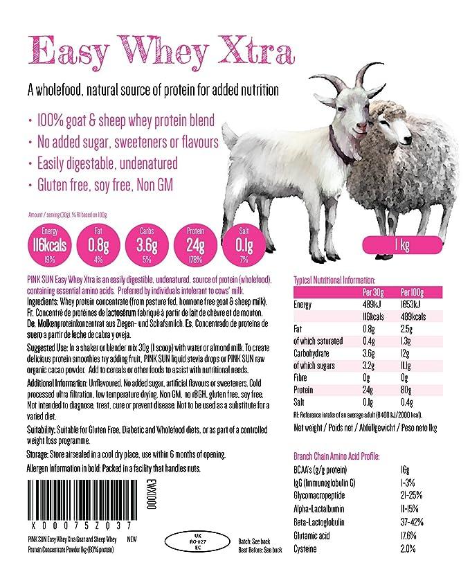 PINK SUN Proteína de Suero de Cabra y Oveja 1kg - Easy Whey Xtra Goat and Sheep Whey Protein Concentrate Powder 1000g: Amazon.es: Salud y cuidado personal