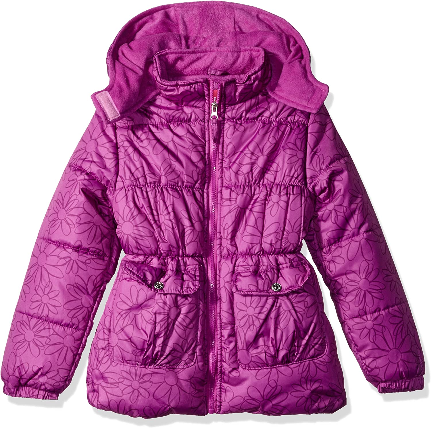 Pink Platinum Girls Long Puffer Jacket With Accessory