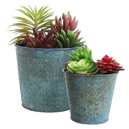 Amazon Com Mini Rustic Metal Succulent Planters Round Flower