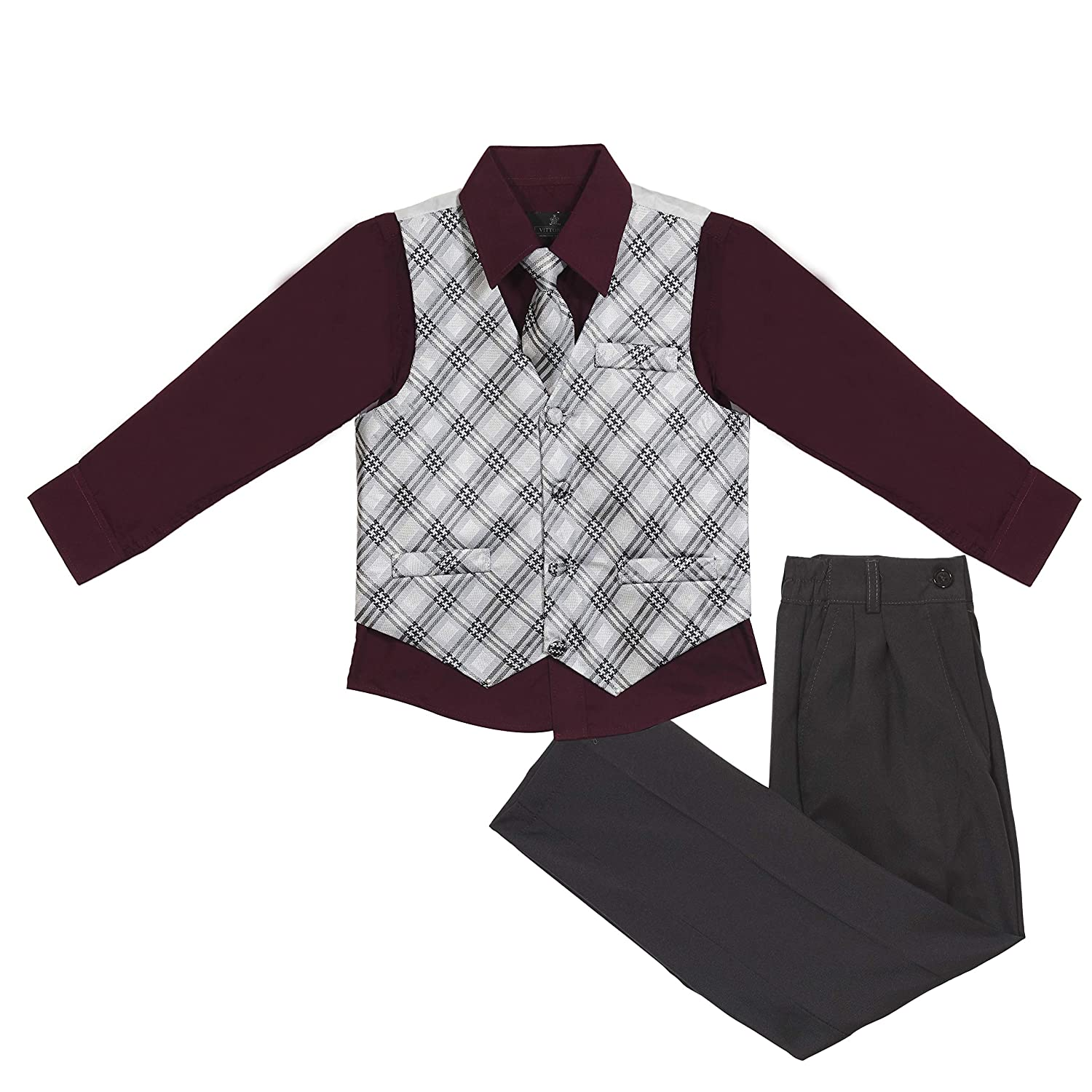 Vittorino Boys Jacquard 4 Piece Suit Set with Vest Pants Dress Shirt and Tie Boys-JacquardVest-4-16