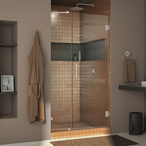 DreamLine Unidoor Lux 41 in. W x 72 in. H Fully Frameless Hinged Shower Door with Support Arm in Brushed Nickel, SHDR-23417210-04