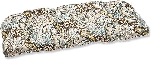 Pillow Perfect Outdoor/Indoor Tamara Paisley Quartz Tufted Loveseat Cushion, 44