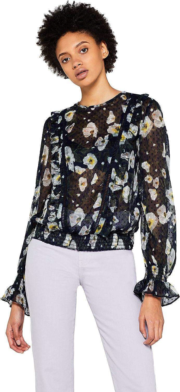 Marca Amazon - find. Blusa de Flores Transparente Mujer