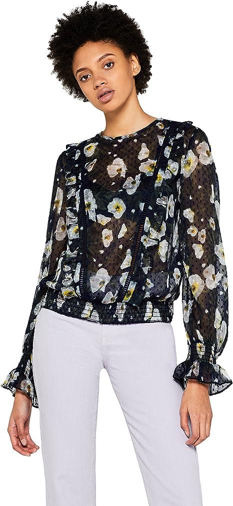 Marca Amazon - find. Blusa de Flores Transparente Mujer: Amazon.es: Ropa y accesorios