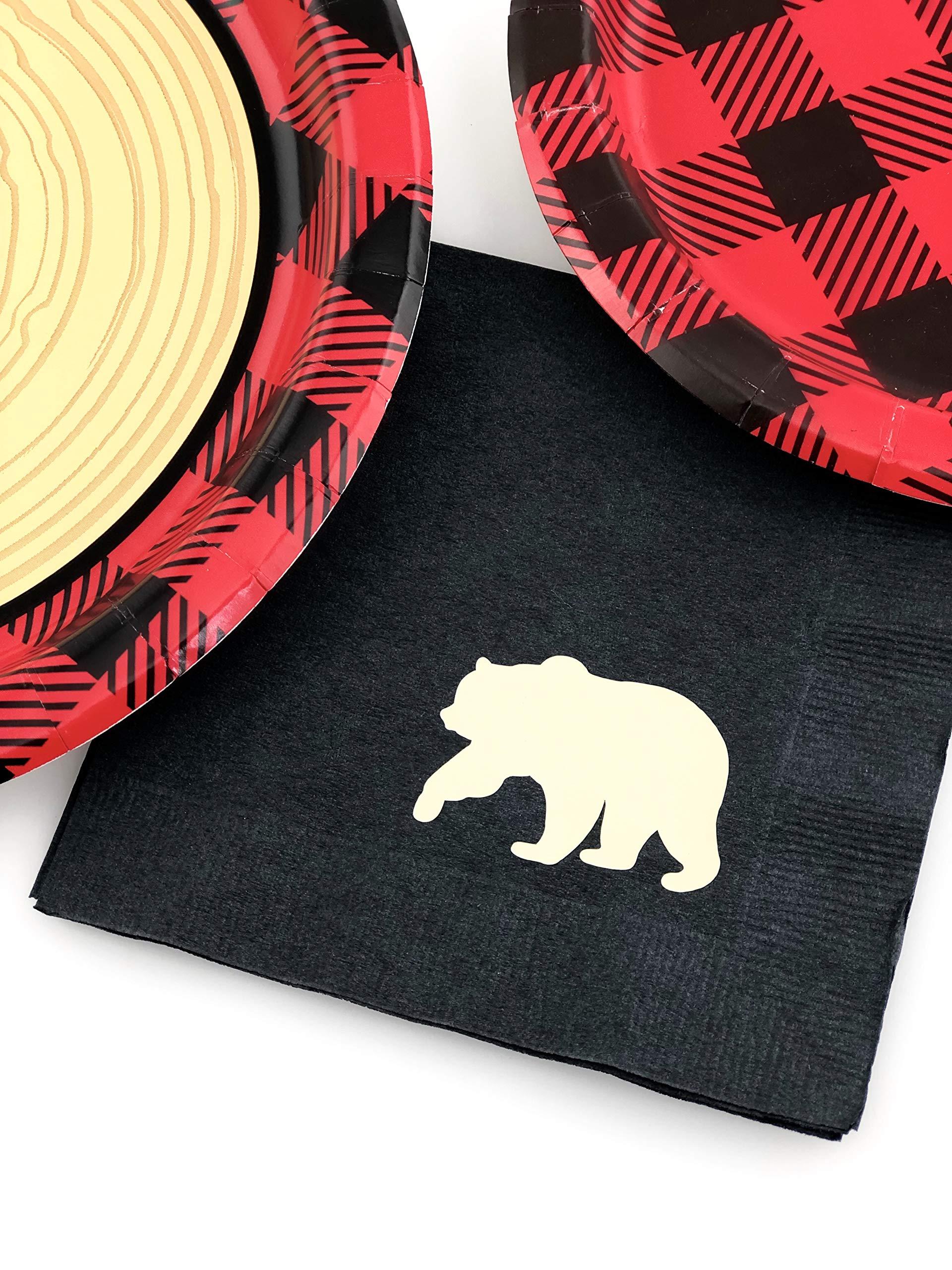 Buffalo Plaid Party Set - 16 Plates Napkins Lumberjack Birthday Bear Baby Shower by Stesha Party (Image #3)