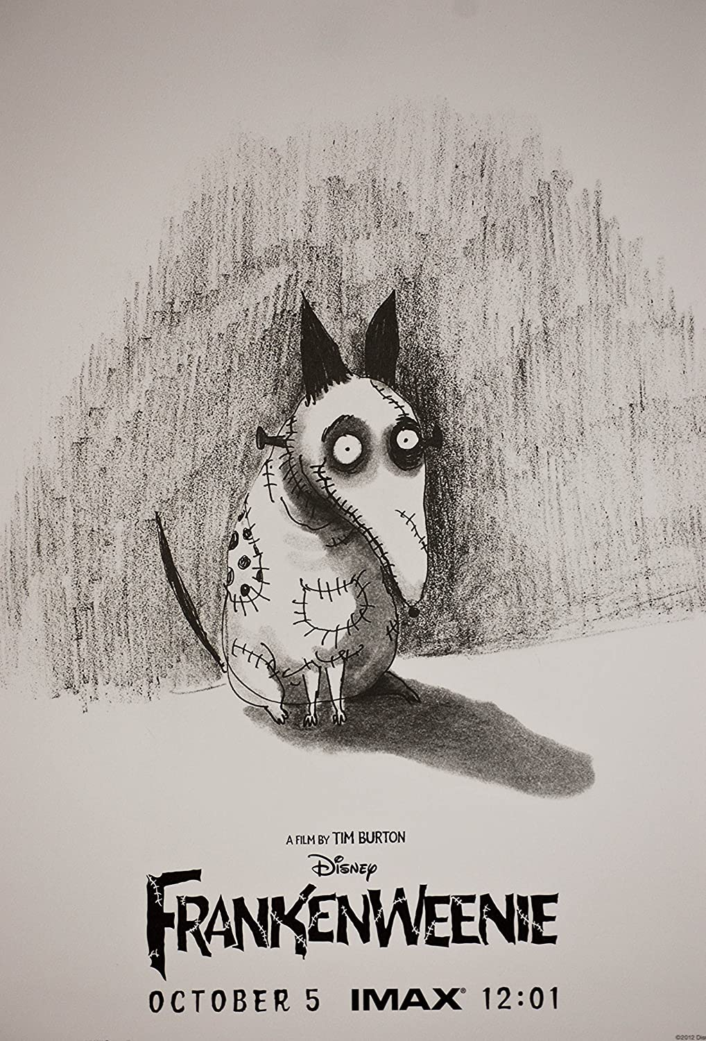 2012 Disney Imax Corp Frankenweenie October 5 Imax 12 01 A Film By Tim Burton Animation Poster Rare Mint Collectible At Amazon S Entertainment Collectibles Store