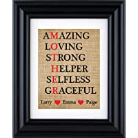 Acronym Mother Print, Mother's Day gift,Gift for Mom,Personalised Mother's Day burlap print (Frame and Matte not included)