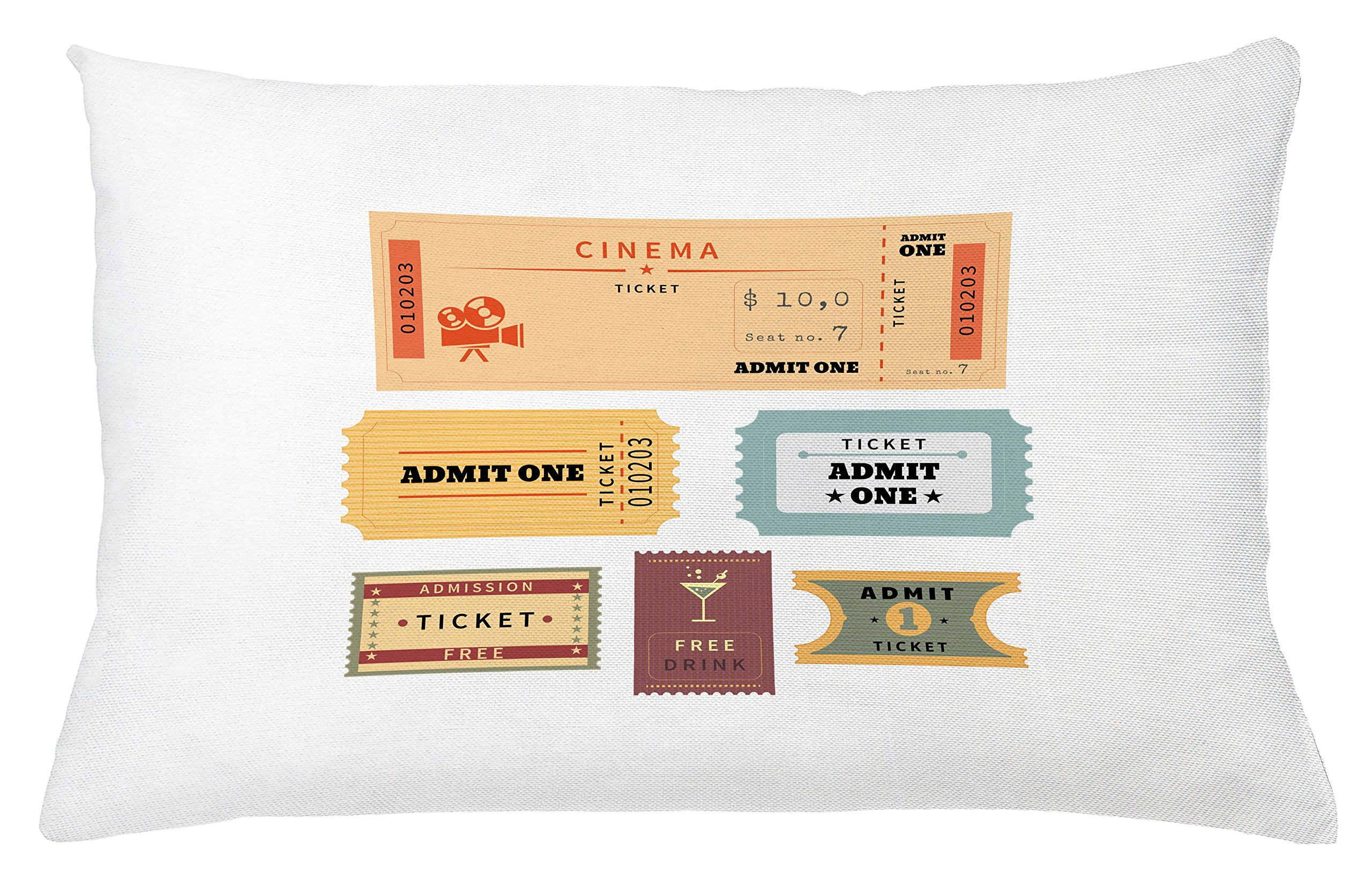 Ambesonne Movie Theater Throw Pillow Cushion Cover, Different Retro Tickets for Cinema and Other Events Vintage Illustration, Decorative Square Accent Pillow Case, 26 X 16 inches, Multicolor