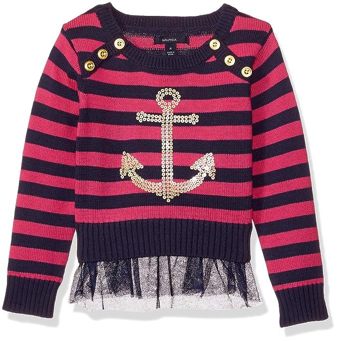 a035f44e4 Nautica - Sudadera de Manga Larga para niña, Dark Pink Sequin, 2 Años