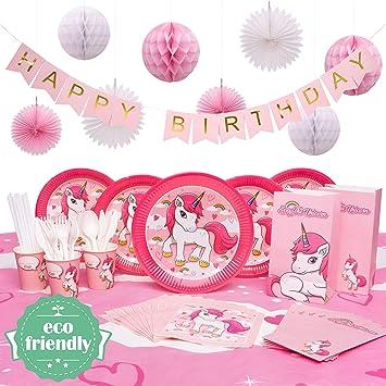 Amazon.com: Decoración de fiesta de unicornio | Sirve 16 ...