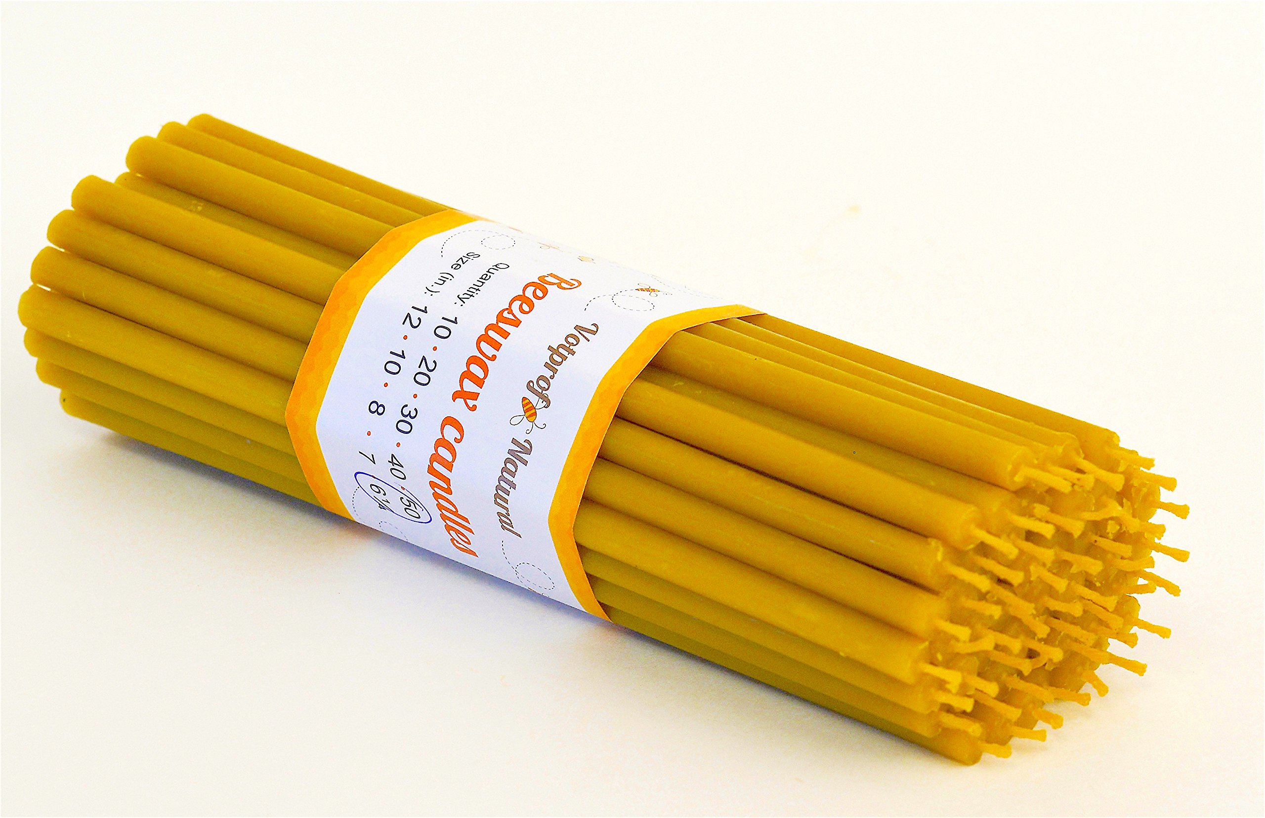 50 Votprof Pure Beeswax Decor Taper Candles ( 6'') Natural Honey Scent Birthday Cake