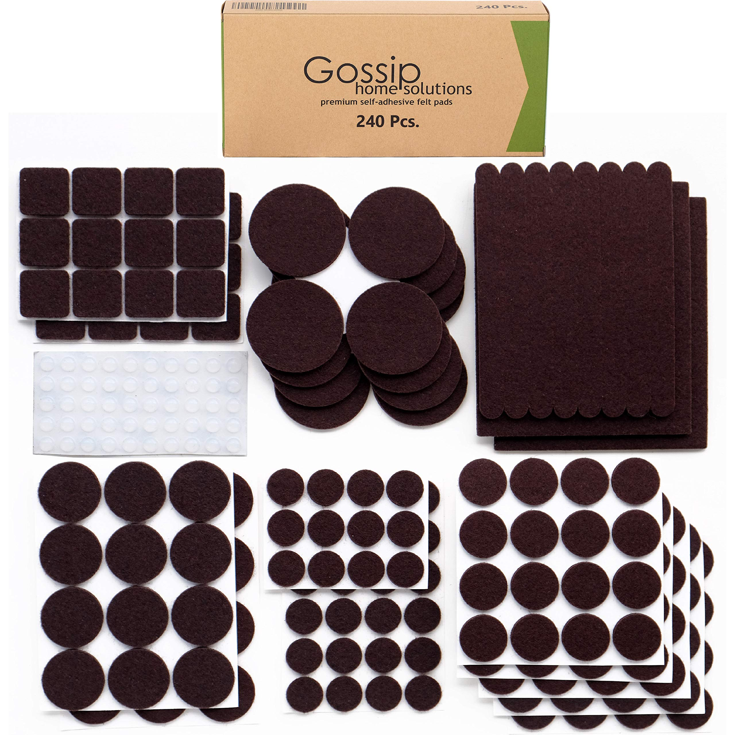 Premium Felt Furniture Pads (Set of 240 Pcs) Large Pack Brown - Heavy Duty Adhesive Felt Pads for Furniture Legs - Hardwood Floor Protectors - Assorted Sizes with Noise-Dampening Clear Rubber Bumpers