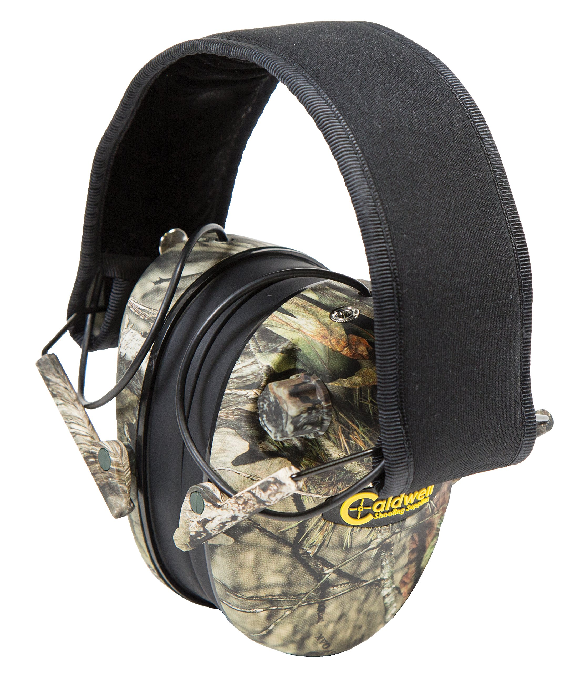 Caldwell E-Max Low Profile Electronic 23 NRR Hearing Protection with Sound Amplification and Adjustable Earmuffs for Shooting, Hunting and Range, Mossy Oak by Caldwell