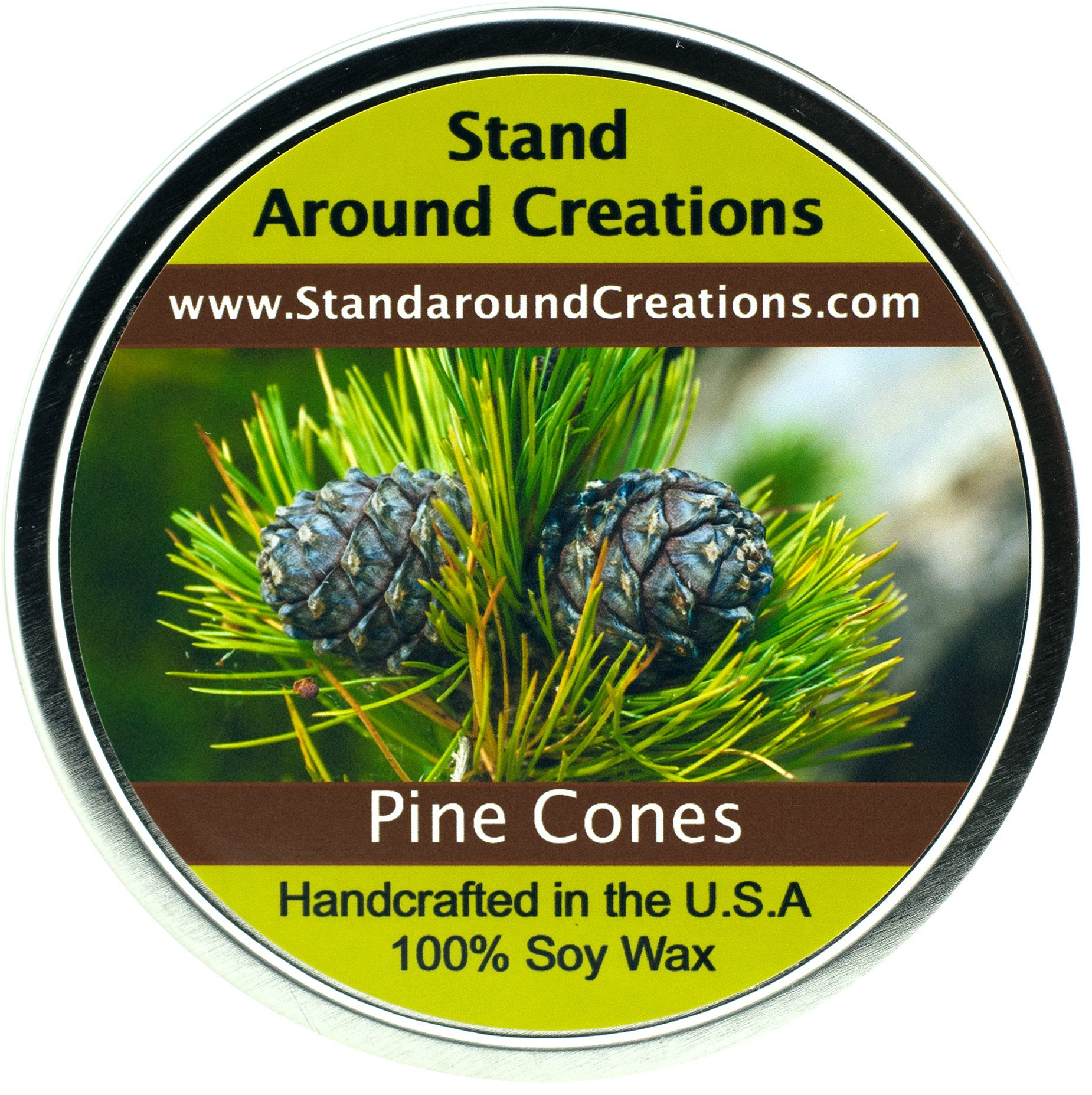 100% All Natural Soy Candle- 16 oz. - Pine Cones - The scent of a fresh cut pine bough. Notes of balsam w/ patchouli combine w/ natural spruce and cedar oils.