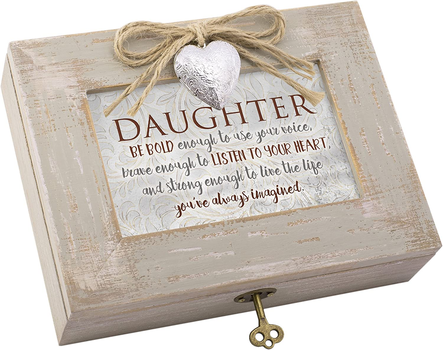 Cottage Garden Daughter Be Bold to Use Your Voice Natural Taupe Jewelry Music Box Plays You Light Up My Life