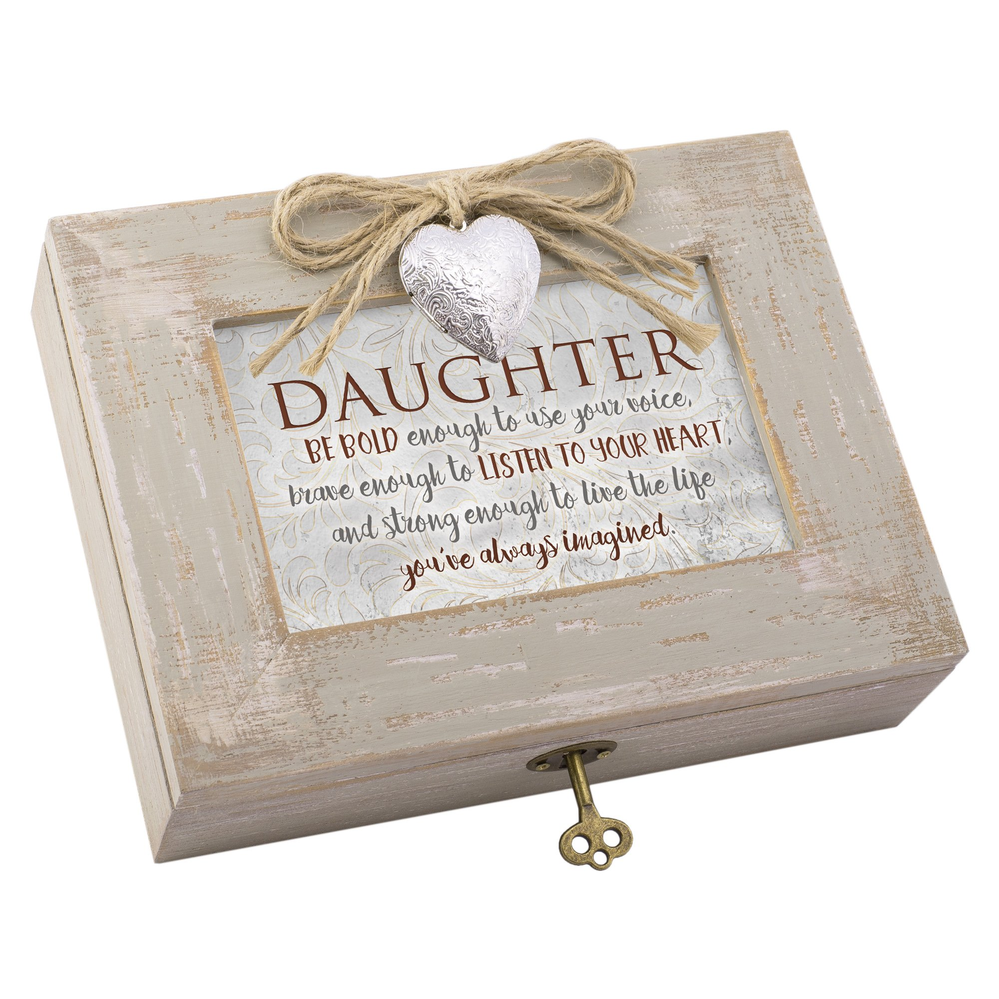 Daughter Live Life Imagined Distressed Wood Locket Jewelry Music Box Plays Tune You Light Up My Life