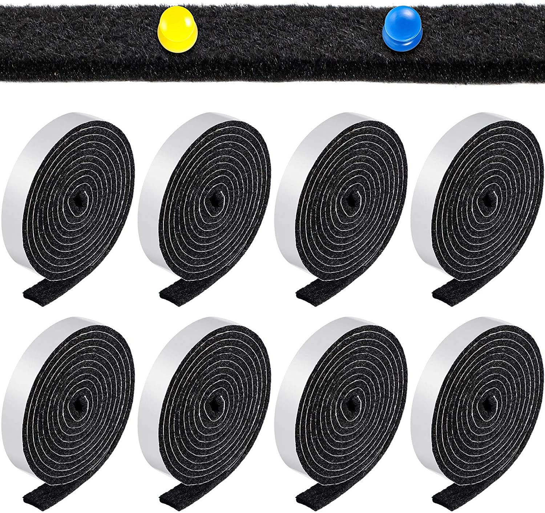 1/2 x 60 Inch Self-Stick Felt Strips Self Adhesive Felt Tapes Felt Bulletin Board Bar Strips, Pin Board Polyester Felt Strip Rolls for Protecting Furniture and DIY Adhesive (Black, 8 Rolls)