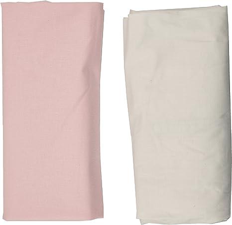 1 S/ábana Blanca 1 S/ábana Rosa 70x140 cm Ti TIN Pack de 2 S/ábanas Bajeras para Maxicuna//100/% Algod/ón//Ajustables con El/ásticos