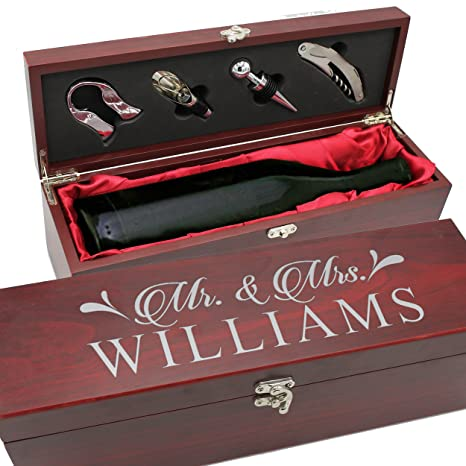 Personalized Wood Wine Box Anniversary Ceremony Couples Wedding Wine Gift Box Holder Custom Engraved For Free Rosewood