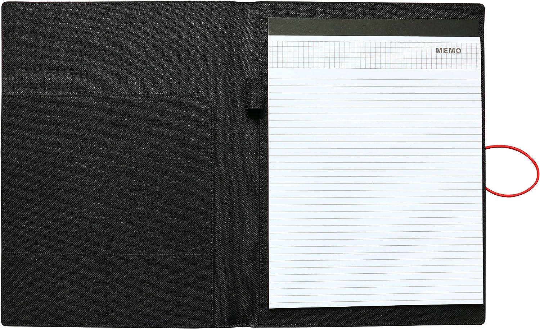 NuVision Executive Briefcase Padfolio Black Fabric Notepad Portfolio with Elastic Band Closure Writing Pad /& Pen Holder