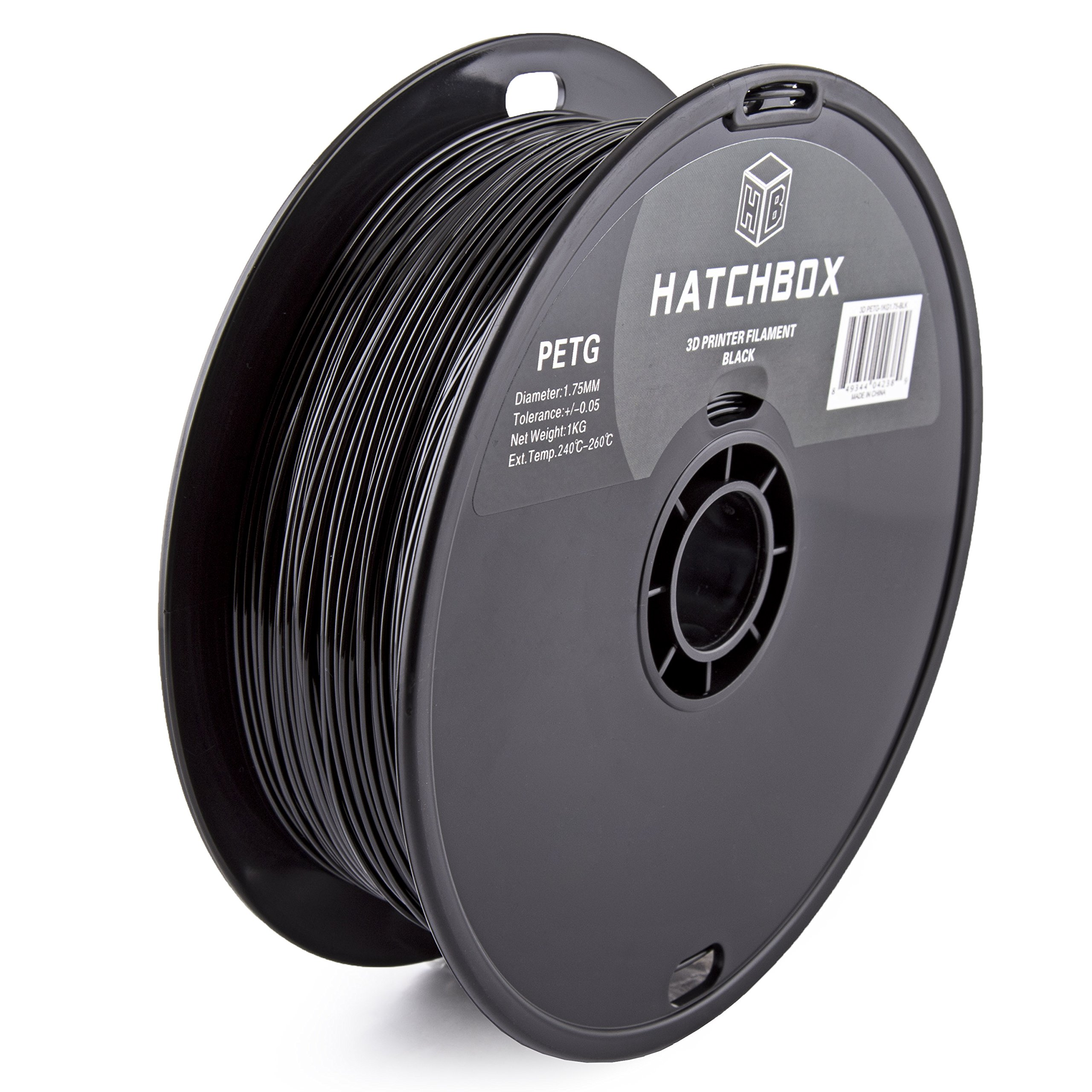 HATCHBOX PETG 3D Printer Filament, Dimensional Accuracy +/- 0.03 mm, 1 kg Spool, 1.75 mm, Black