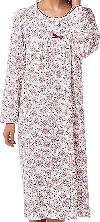 SaneShoppe - Camisón de manga larga para mujer, 100% algodón, con ...