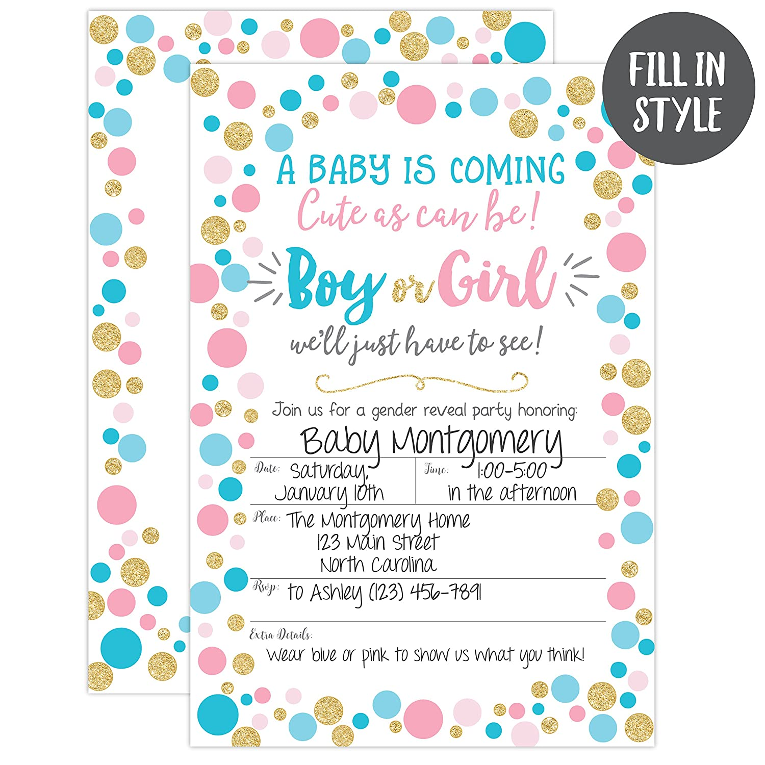 Gender Reveal Invitation Party Invite Neutral Baby Shower Boy Or Girl He She 20 Fill In Invitations And Envelopes