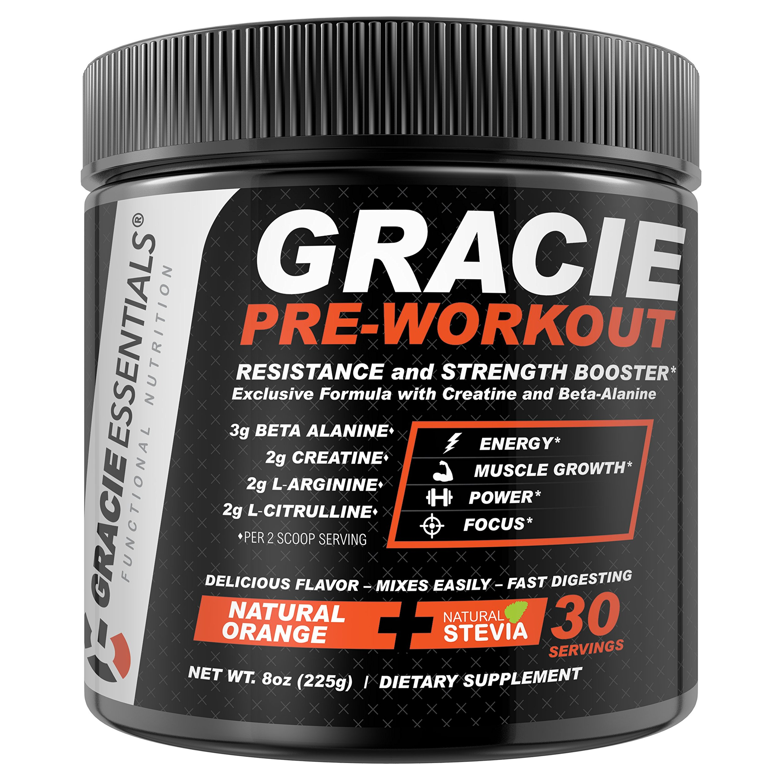 Gracie Essentials Pre Workout Powder Dietary Supplement 30 Servings for Men & Women with Natural Orange Flavor | Improve Energy & Efficiency, Promote Muscle Growth, Increase Power & Mental Clarity