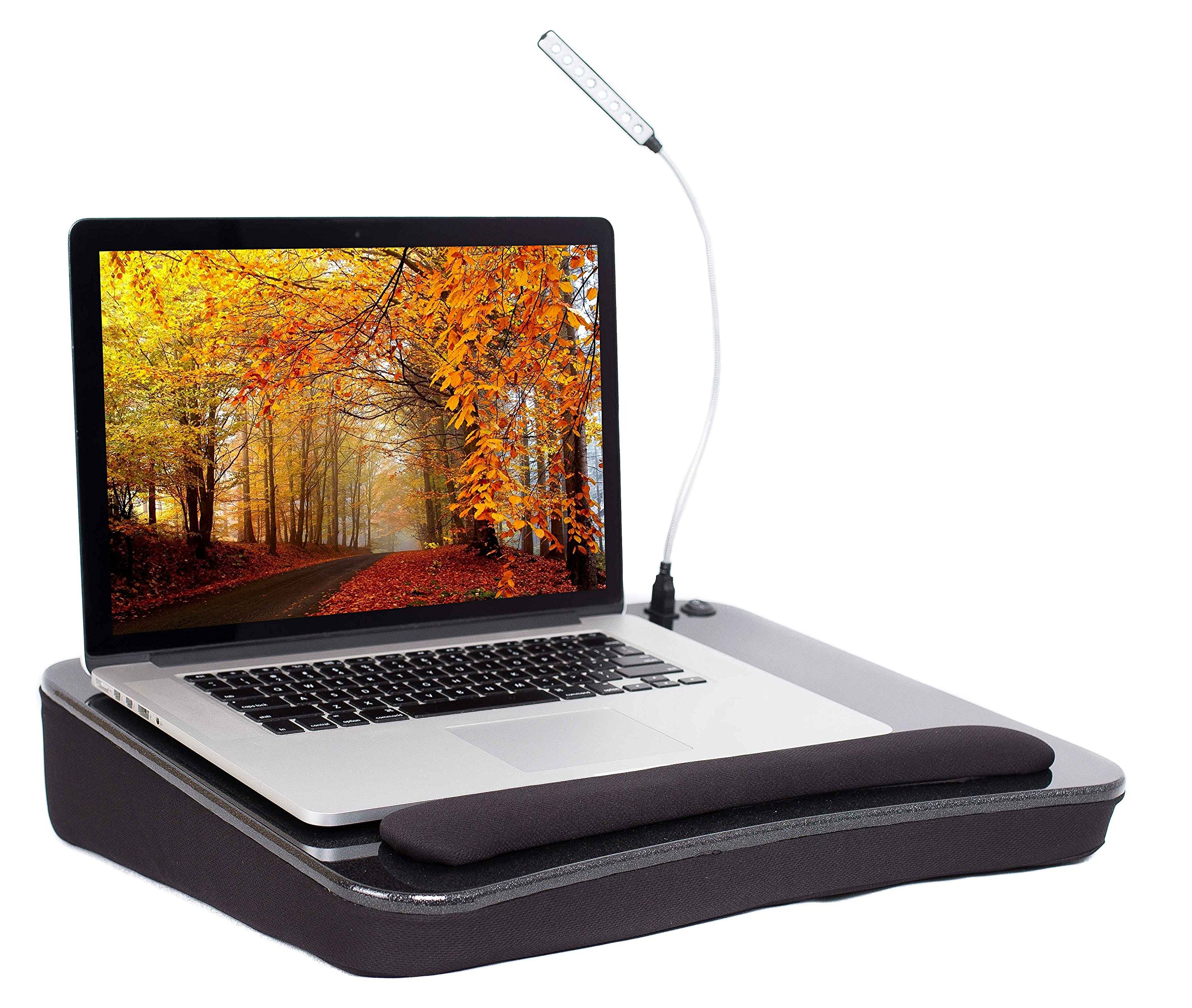 Sofia + Sam Lap Desk with USB Light (Black) | Memory Foam Cushion | Supports Laptops Up to 17 Inches