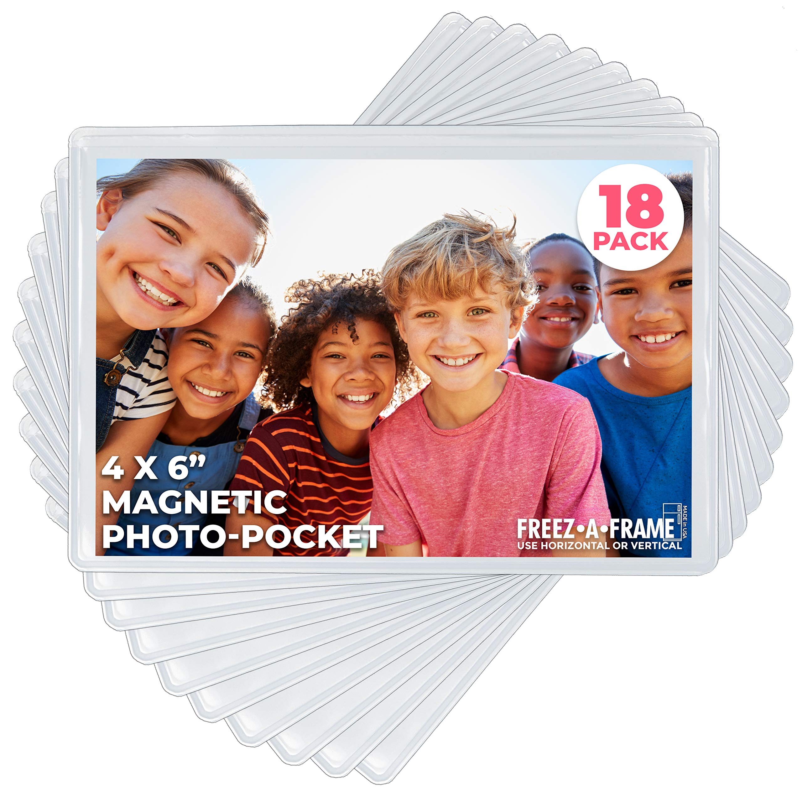 Freez A Frame Clear Magnetic Picture Frame Pockets For Refrigerator School Locker, or any Magnetic Surface 18 Pack Holds 4x6 Photos (4 x 6) by Freez A Frame
