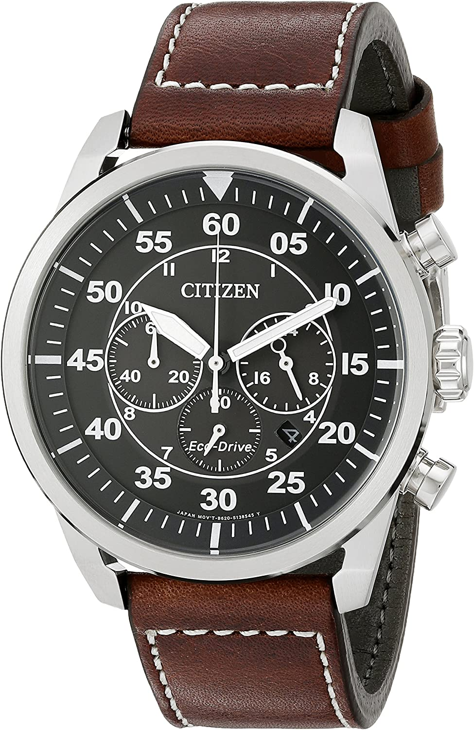 Citizen Eco-Drive Men s Stainless Steel Leather Avion Watch
