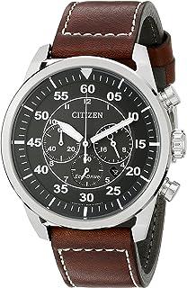 3e35d1d2c762a Amazon.com  Citizen Men s Eco-Drive Brown Leather Strap Watch with ...