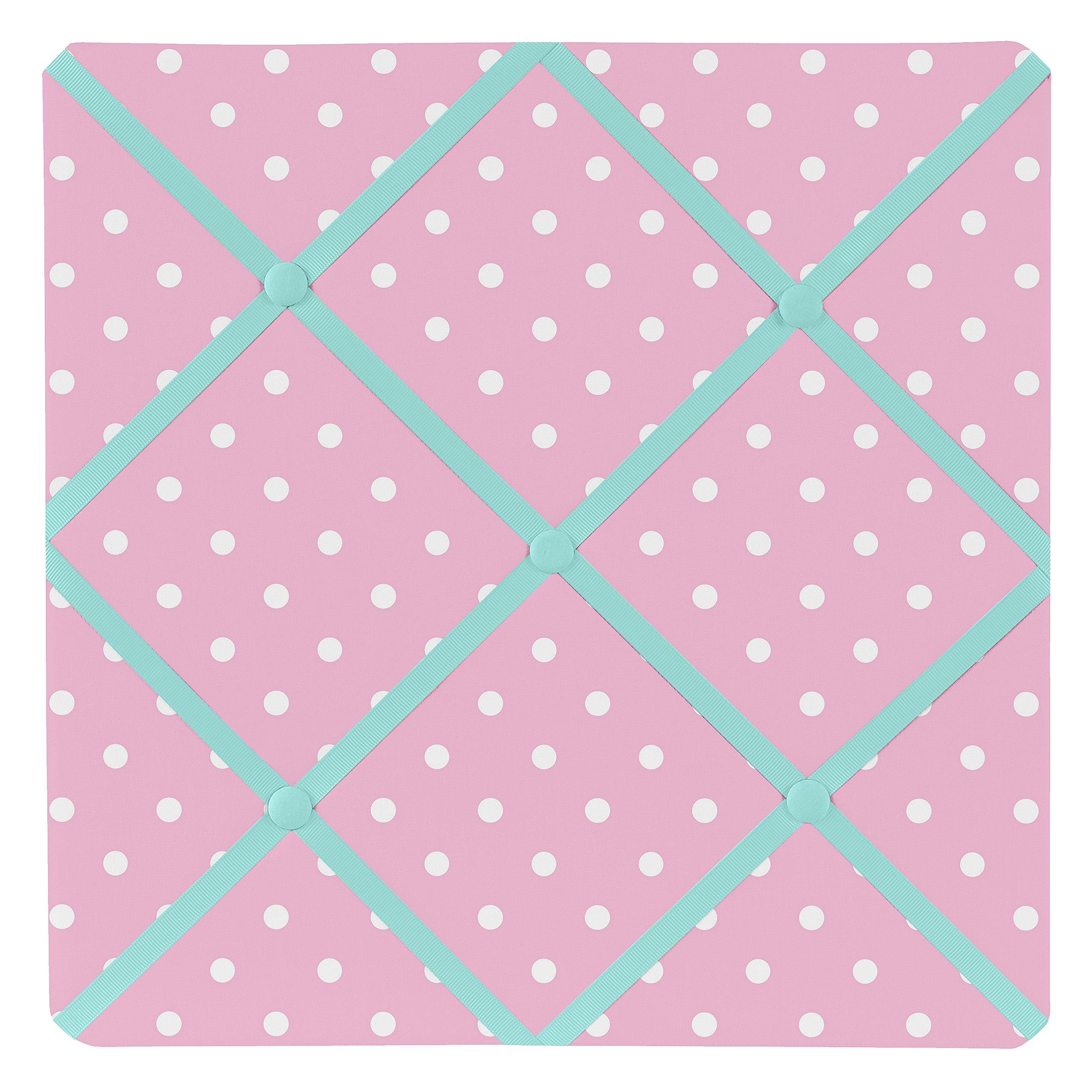 Sweet Jojo Designs Pink Polka Dot and Turquoise Skylar Fabric Memory/Memo Photo Bulletin Board by Sweet Jojo Designs
