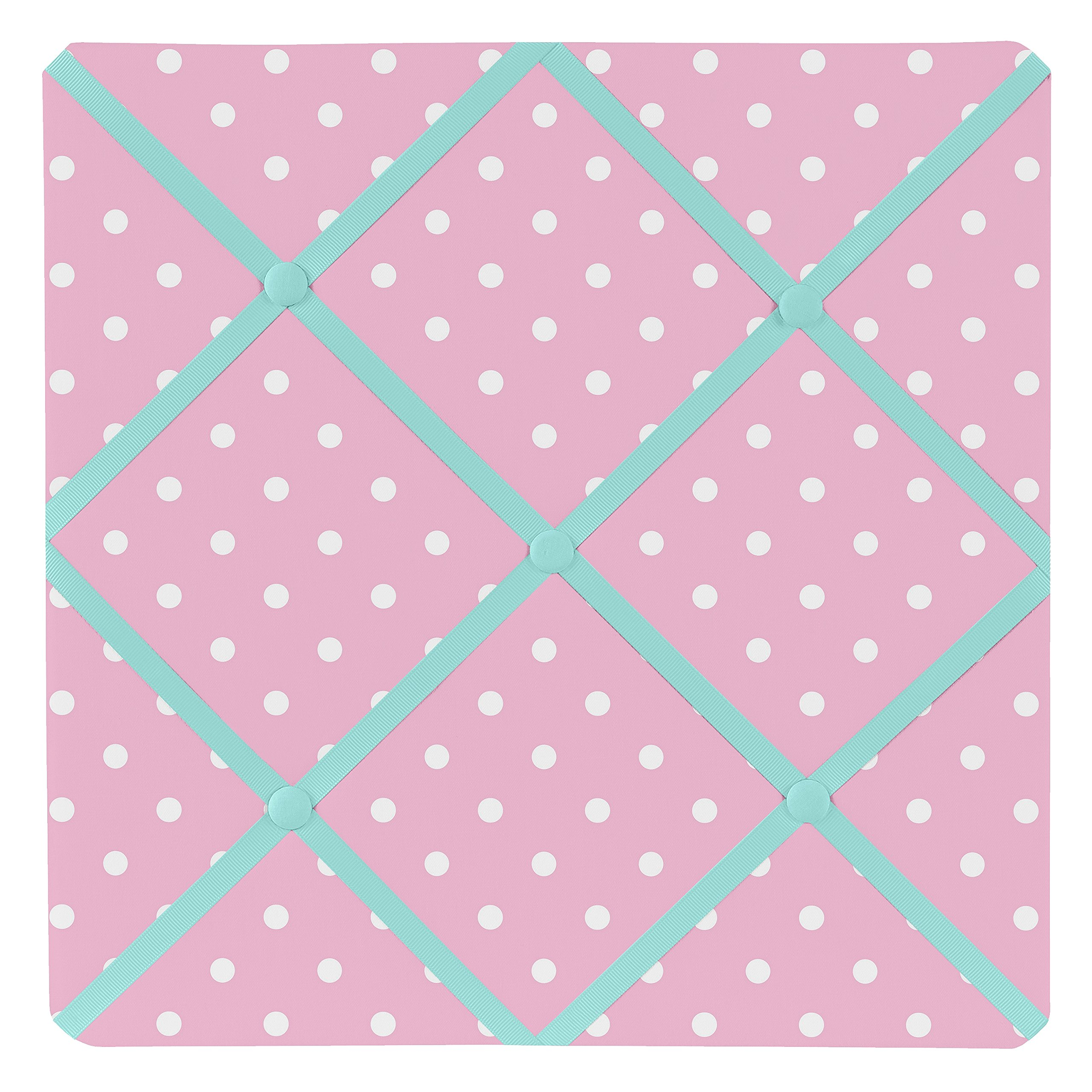 Sweet Jojo Designs Pink Polka Dot and Turquoise Skylar Fabric Memory/Memo Photo Bulletin Board by Sweet Jojo Designs