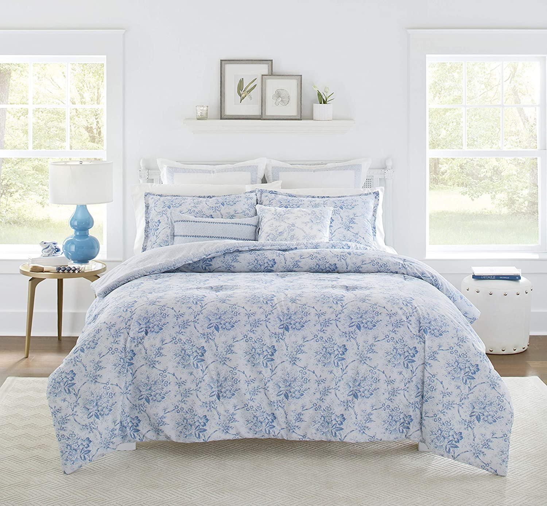 Amazon Com Laura Ashley Nina Collection Luxury Ultra Soft Comforter All Season Premium 7 Piece Bedding Set Stylish Delicate Design For Home Decor King Powder Blue Home Kitchen