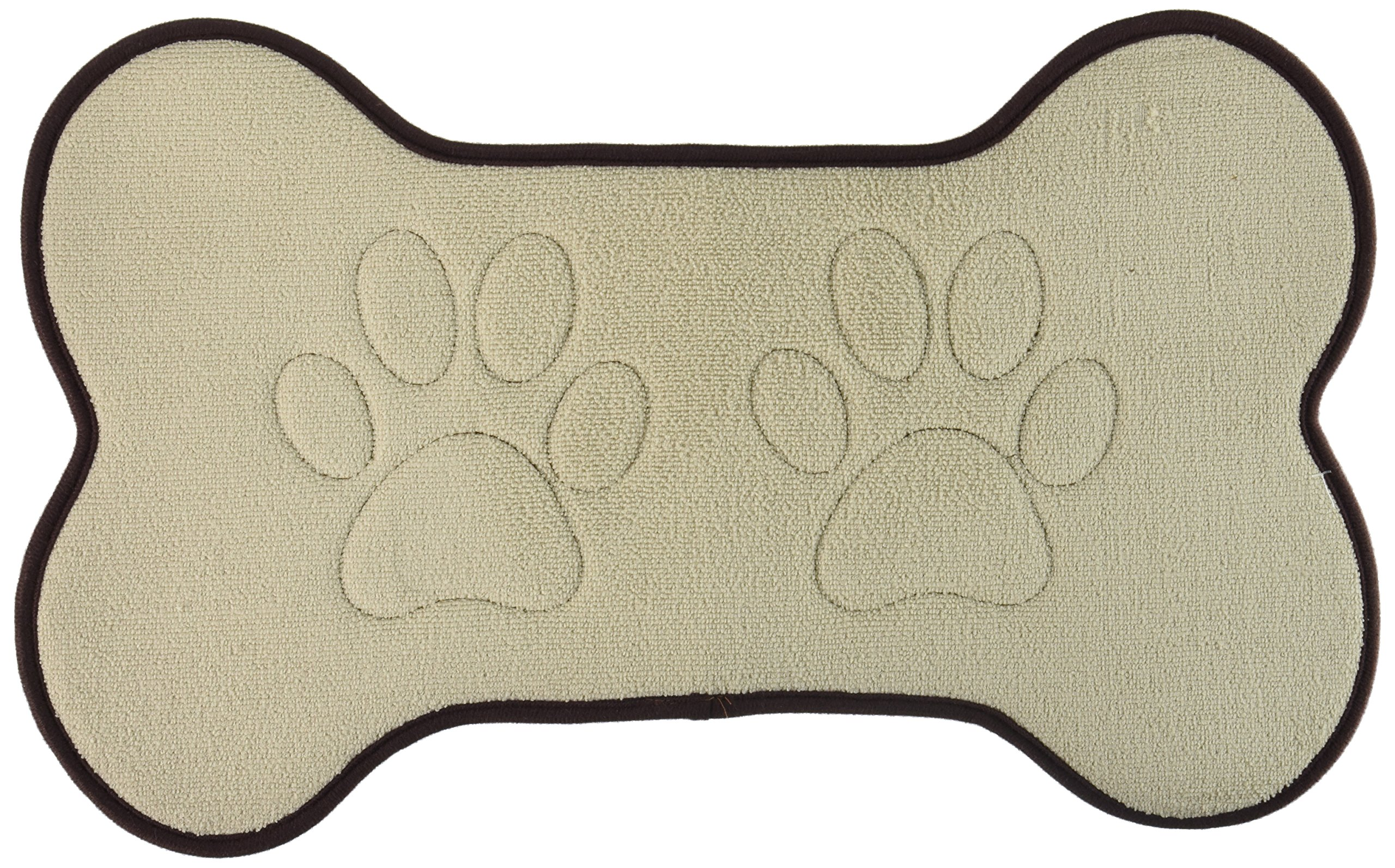 Beatrice Home Fashions BONFMT21TAU Bone Shaped Feeding Mat, Taupe/Chocolate