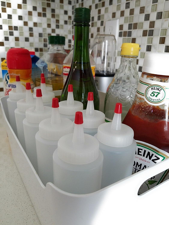 kelkaa 8oz HDPE resistente plástico Squeeze botellas con tapa Yorker color rojo Natural claro botellas para alimentos, manualidades, bricolaje líquido ...