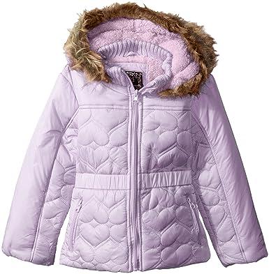 2c2095bc0 Amazon.com: Ok Kids! Girls' Heart Quilt Design Jacket with Faux Fur ...