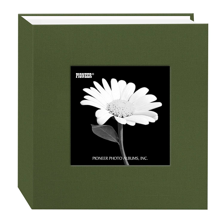 Pioneer Photo Albums 100 Pocket Fabric Frame Cover Photo Album, Herbal Green DA-100 CBFN/HG