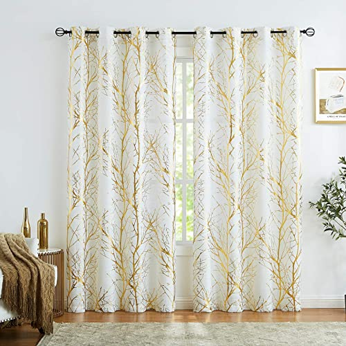 Fmfunctex Semi Sheer Curtains Gold Metallic Print White Tree Curtain Panel
