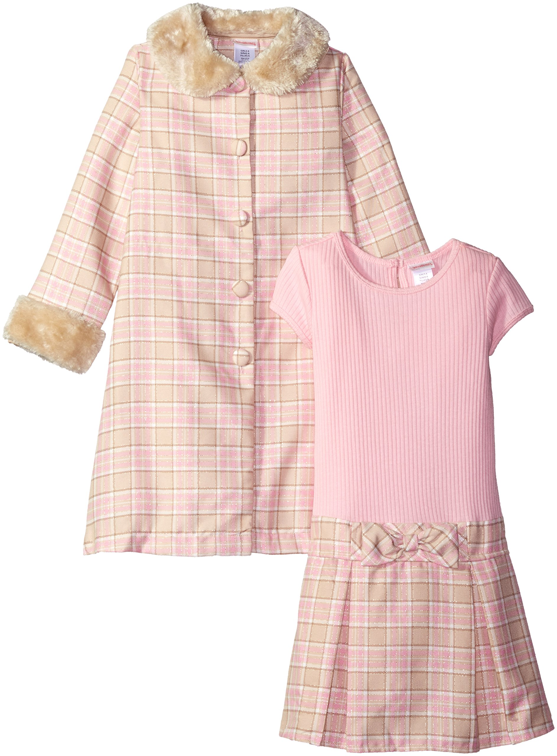 Youngland Little Girls' Woven Plaid Coat with Faux Fur Trim and Pink Knit to Woven Plaid Dress, Pink/Tan, 4 by Youngland (Image #1)
