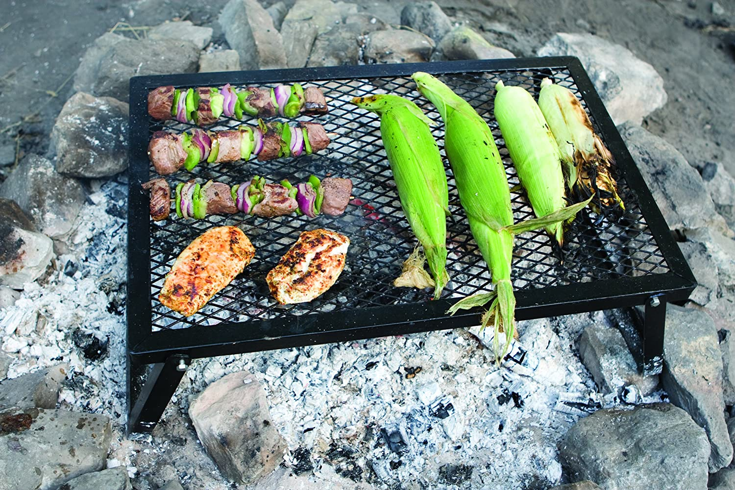 Campfire Cooking Equipment: Over-Fire Grills, Rotisserie Spits and Stands - Camp Chef Lumberjack Over-the-Fire Grill with Sturdy Legs
